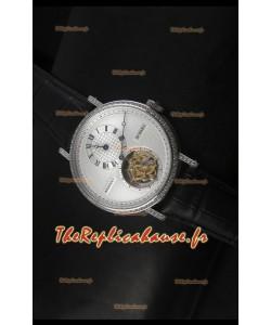 Réplique de montre suisse Classique Tourbillon Breguet en acier inoxydable avec lunette sertie de diamants