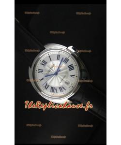 Montre Clé de Cartier avec boîtier acier 40mm sur bracelet en cuir - Réplique de montre miroir 1:1