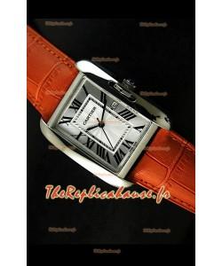 Cartier Tank Reproduction Montre Pour Femmes avec Boitier en Acier/Bracelet Orange