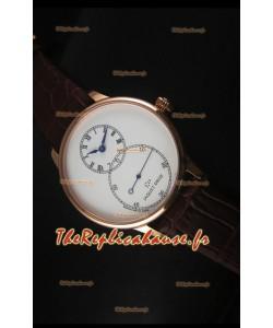 Montre avec boitier en or rose et émail ivoire Jaquet Droz Grande Seconde avec cadran blanc