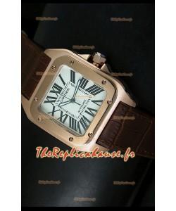 Cartier Santos 100 1:1 Réplique de montre miroir or rose 42mm