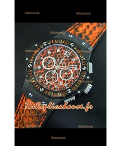 Montre pour femmes Hublot Big Bang 34mm avec mouvement Quartz - Cadran/Bracelet orange