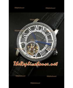 Cartier Calibre Japanese Tourbillon Montre Bracelet Noir avec Diamants