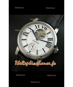 Ballon de Cartier Tourbillon volant Reproduction Montre Japonais - Bracelet Noir