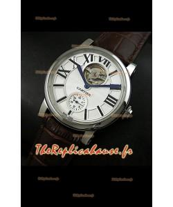 Ballon de Cartier Tourbillon volant Reproduction Montre Japonais - Bracelet Marron