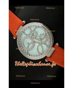 Cartier Reproduction Montre avec Lunette Cadran Incrustés de Diamants dans un Boitier en Acier/Bracelet Orange