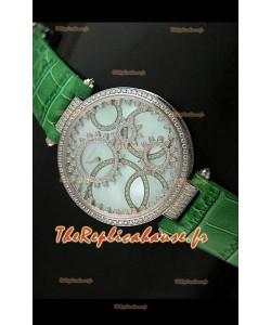 Cartier Reproduction Montre avec Lunette Cadran Incrustés de Diamants dans un Boitier en Acier/Bracelet Vert