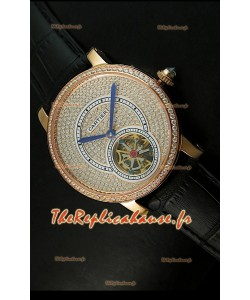 Ronde de Cartier Tourbillon Reproduction Montre Boitier en Or Rose - Bracelet Noir