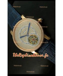 Ronde de Cartier Tourbillon Reproduction Montre Boitier en Or Rose - Bracelet Violet