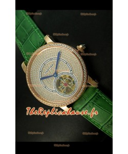 Ronde de Cartier Tourbillon Reproduction Montre Boitier en Or Rose - Bracelet Vert