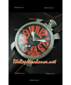 GaGa Milano Manuale Japanese Montre Cadran Carbone Noir