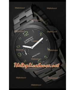 Panerai Luminor Marina Black Dial Montre avec Index Verts