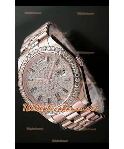 Rolex Day Date II Swiss Montre - 41 mm avec Lunette de Diamants Ronds et Or Rose l