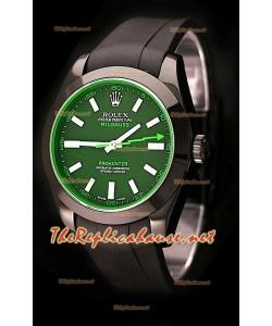 Rolex Milgauss Pro Hunter Swiss Montre avec Bracelet en Caoutchouc et Saphir Vert