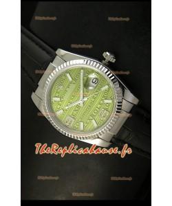 Rolex Imitation Datejust Montre Suisse Reproduction - 37MM - Cadran/Bracelet Vert