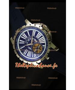 Montre Roger Dubuis Excalibur Tourbillon avec mouvement japonais - Cadran bleu