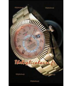 Montre en or rose 18K Rolex Sky-Dweller avec chiffres arabes sur cadran saumon