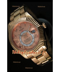 Montre en or rose 18K Rolex Sky-Dweller avec chiffres romains sur cadran saumon