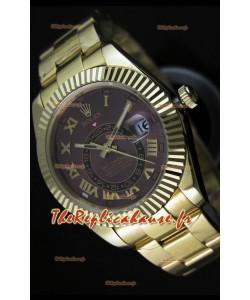 Montre en or jaune 18K Rolex Sky-Dweller avec chiffres romains sur cadran marron