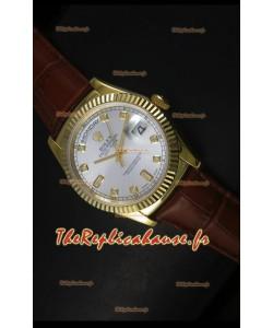 Réplique de montre suisse en or jaune Rolex Day Date 36MM - Cadran argenté
