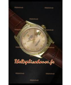 Réplique de montre suisse en or jaune Rolex Day Date 36MM - Cadran champagne