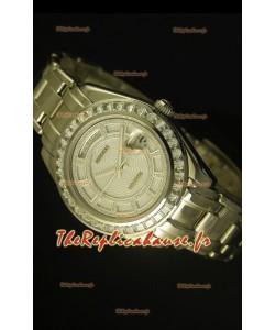 Montre suisse Day Date Rolex avec boîtier en acier inoxydable