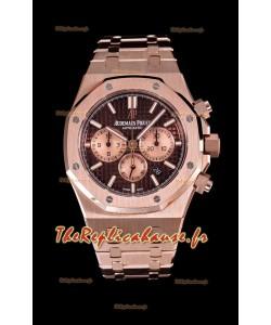 Audemars Piguet Royal Oak montre chronographe avec boîtier en or rose cadran marron