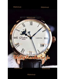 Glashuette Senator Excellence Panorama Date Phase de Lune montre suisse en or rose