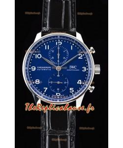 Chronographe portugais IWC montre suisse à miroir 1:1 en cadran bleu