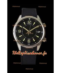Jaeger-LeCoultre Polaris montre réplique à miroir 1:1 en cadran noir et bracelet en nylon