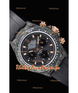 Rolex Daytona DiW montre réplique à miroir 1:1 avec boîtier forgé en carbone et bracelet noir
