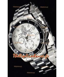 Tag Heuer Aquaracer montre suisse chronographe à Quartz en cadran blanc