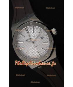 Audemars Piguet Royal Oak 41MM cadran argenté bracelet en caoutchouc  - 1:1 Miroir Édition Ultime