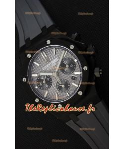 Montre Audemars Piguet Royal Oak Suisse à Chronographe avec Cadran Gris ardoise et un Bracelet en Caoutchouc et Boîtier en PVD Réplique