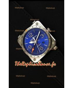 Montre Bell & RossBR03-93 GMT Suisse en Acier et à Cadran bleu Répliquée à l'identique 1:1 Édition 42mm