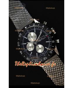 Montre Breitling Chronoliner Suisse Acier-Bracelet en maille noire avec cadran noir Répliquée