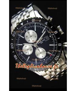 Montre Breitling Chronoliner Suisse Acier — Bracelet en acier noir avec cadran noir Répliquée
