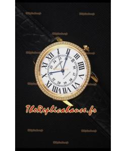 """Cartier """"Ronde De Cartier"""" Montre en or jaune Avec lunette de diamants créés par laboratoire"""