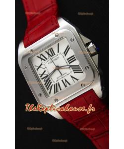 Cartier Santos De Cartier 1:1 Miroir Montre Réplique Sangle Rouge 33MM Montre Femme