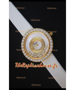 Chopard Happy Diamonds 36mm, Sangle Blanche et Cadran Blanc