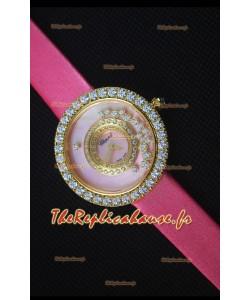 Chopard Happy Diamonds 36mm, Sangle Rose et Cadran Rose