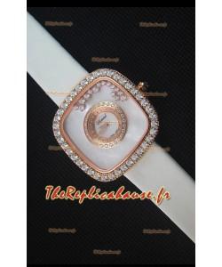 Chopard Happy Diamonds 38mm, Sangle Blanche et Cadran Blanc
