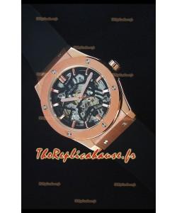 Hublot Classic Fusion Skeleton, Boîtier en Or Rose, Mouvement Japonais