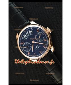 Montre IWC Portugieser Annual Calender Midnight Blue Pink GoldIW503504 Répliquée à l'identique 1:1