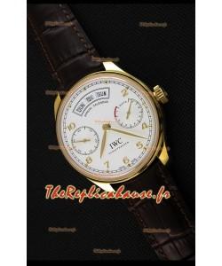 Montre IWC Portugieser Annual Calender Cadran Blanc or jauneIW503502 Répliquée à l'identique 1:1