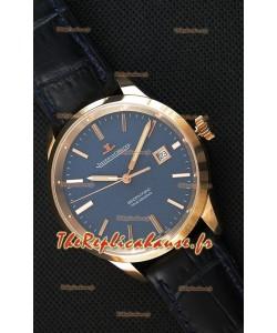 Montre Jaeger LeCoultre Geophysic True Second Suisse Couleur Rose Or , Cadran bleu