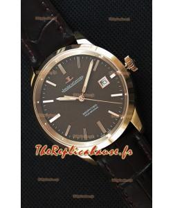 Montre Jaeger LeCoultre Geophysic True Second Suisse Couleur Rose Or , Cadran Marron
