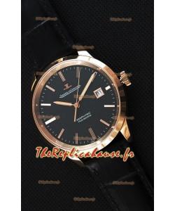 Montre Jaeger LeCoultre Geophysic True Second Suisse Couleur Rose Or , Cadran Noir