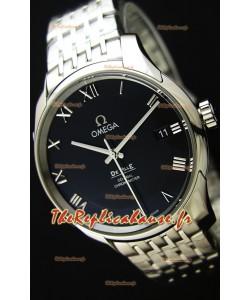 Omega De-Ville Annual Calendar Bracelet en acier Montre Réplique Suisse 1:1 Miroir Édition cadran noir