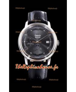 Omega De Ville Prestige Réserve de marche 904L Acier 1:1 Miroir Montre suisse Cadran gris